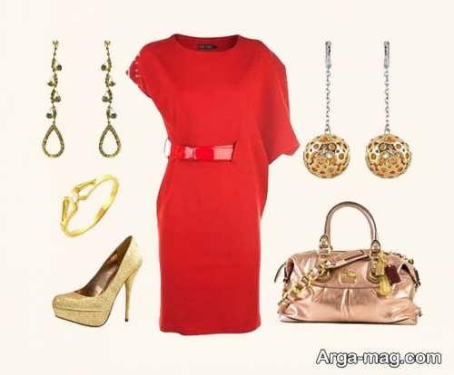 ست کردن لباس قرمز با جواهرات
