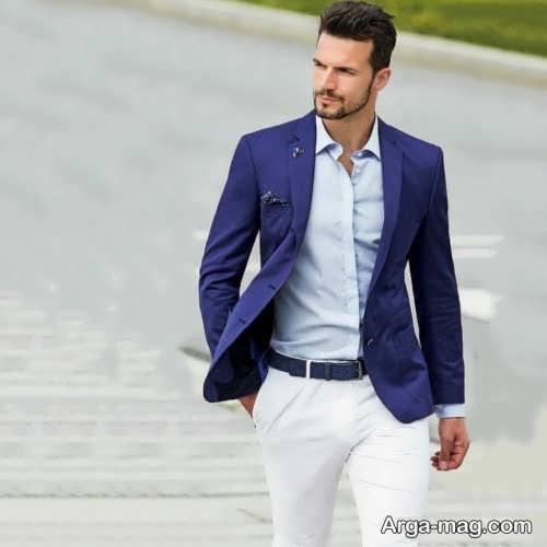 ست کت تک سورمه ای با پیراهن آبی روشن