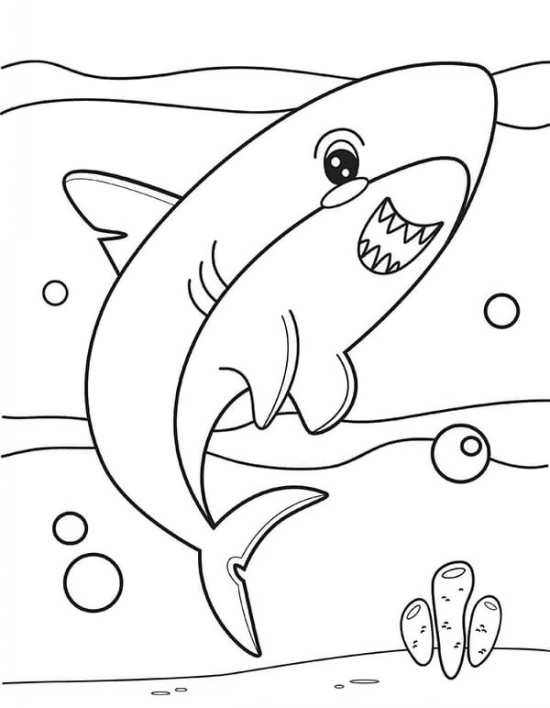 نقاشی کوسه زیر دریا