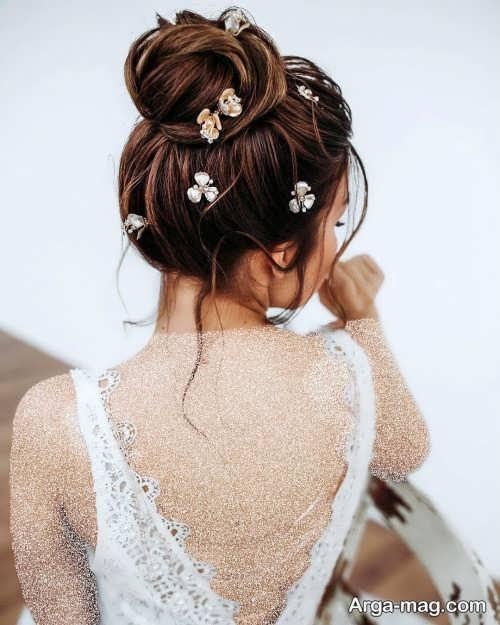شینیون مخصوص عروس با تزیین زیبا