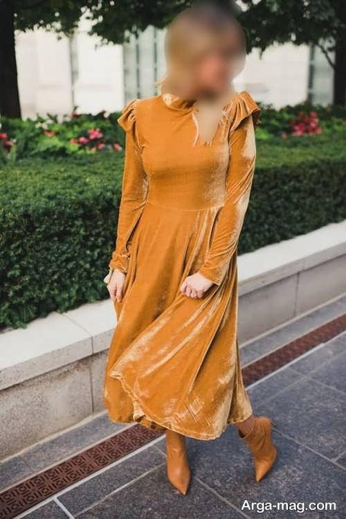 مدل های لباس پوشیده مجلسی خردلی