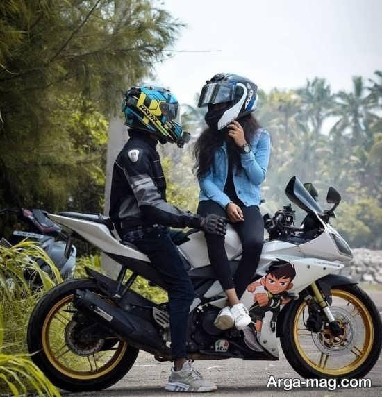 عکس عاشقانه با موتور بسیار خاص و باحال