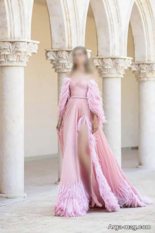 لباس مجلسی زنانه ۲۰۲۲ صورتی روشن